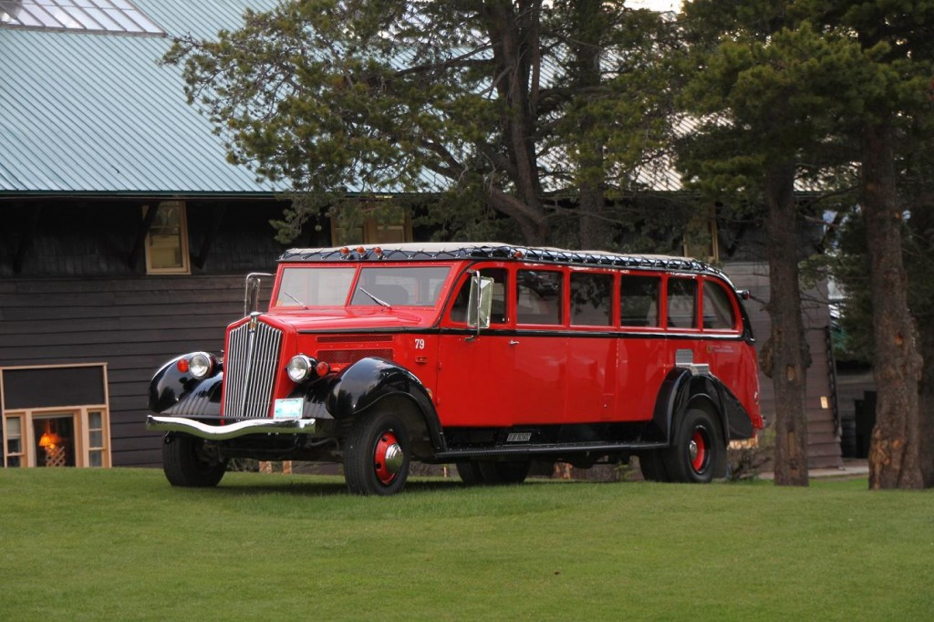 Jammer (red bus) at Glacier Park Lodge