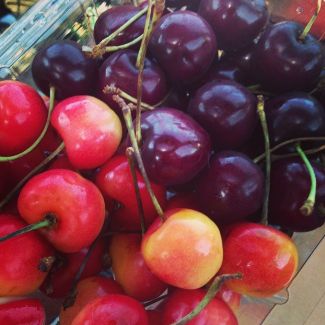 One of my favorite road trip snacks: Flathead cherries.