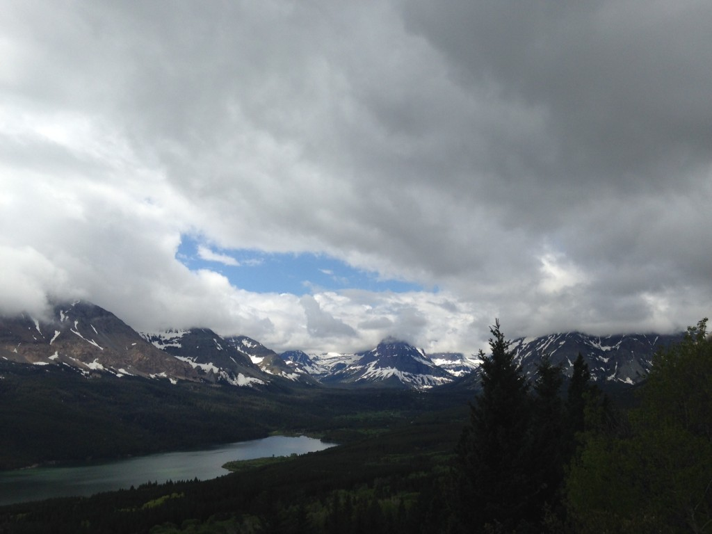 The view into Glacier National Park's Two Medicine Valley from Looking Glass Highway.