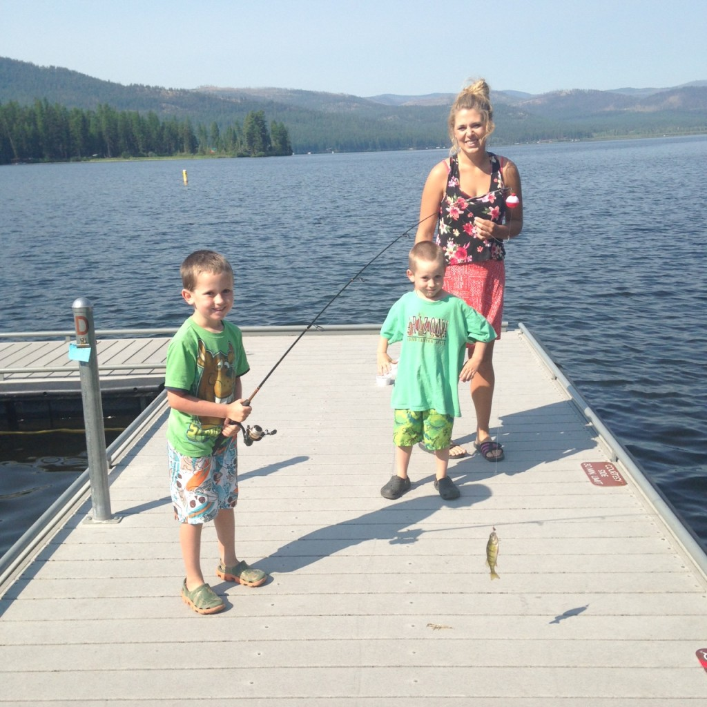 Two fishing boys + their aunt.