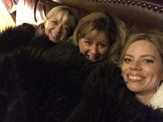 Cuddling up under a bison throw at Bar W Guest Ranch.
