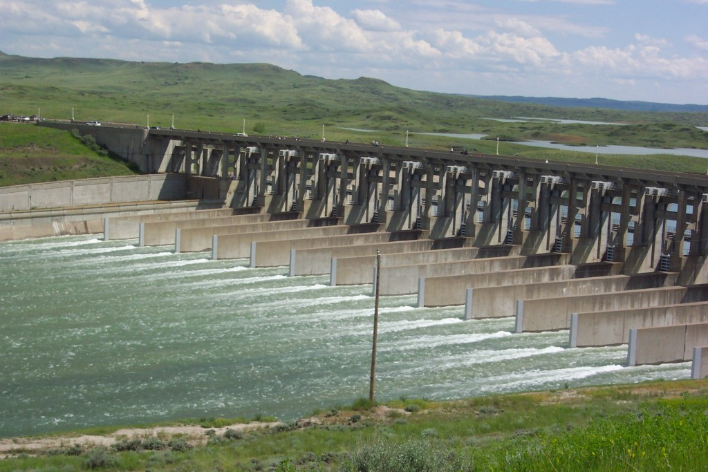 The spillway at Fort Peck Dam.