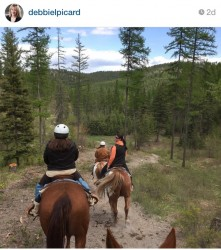 Riding horseback outside Kalispell.
