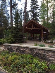The entrance to the main lodge at Triple Creek Ranch.