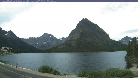 The view into Many Glacier, as of 9:13 a.m., July 27. Cooler weather has moved into Montana.