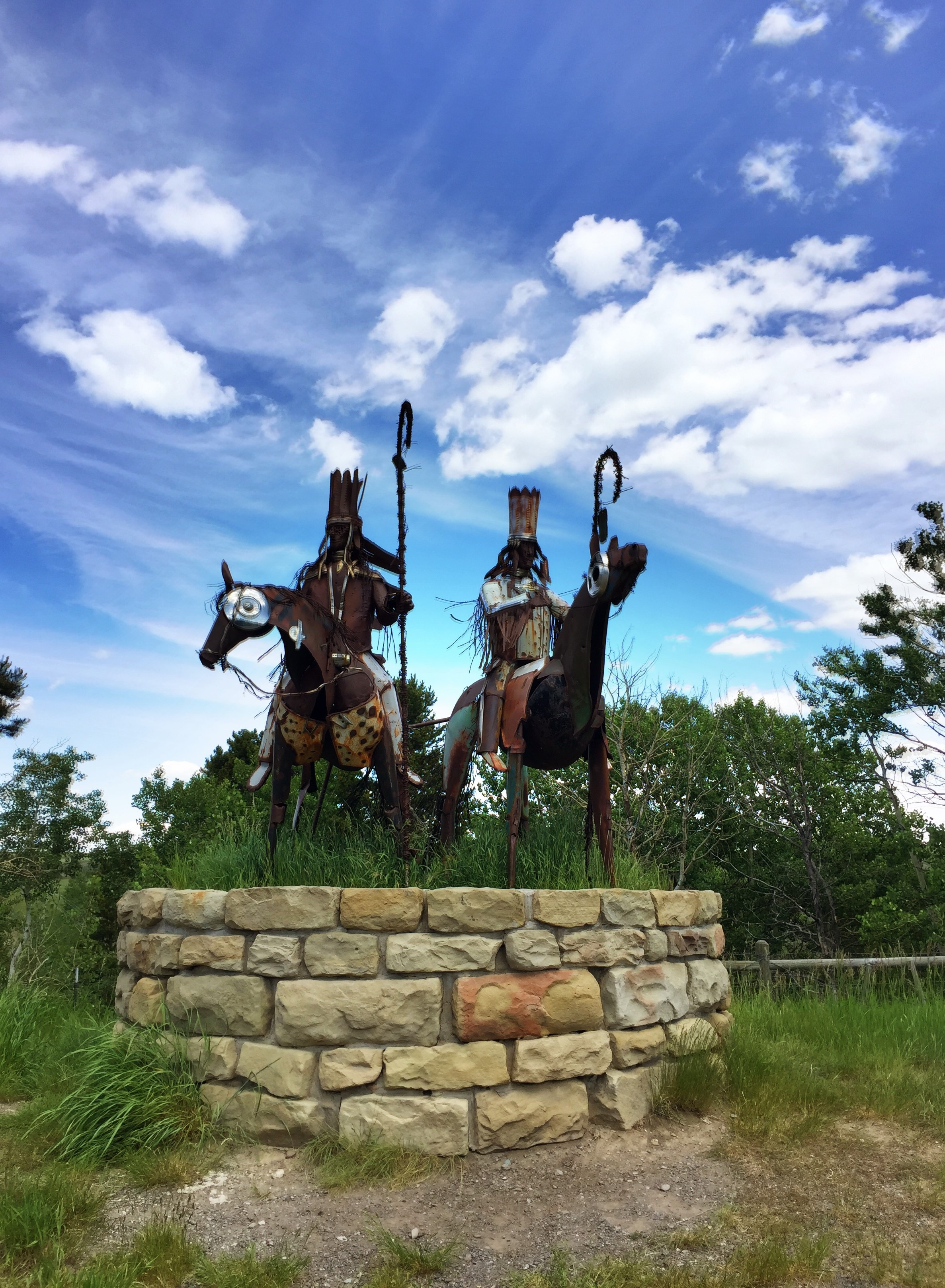 Blackfeet warrior sculptures at one of the entry points on the reservation.
