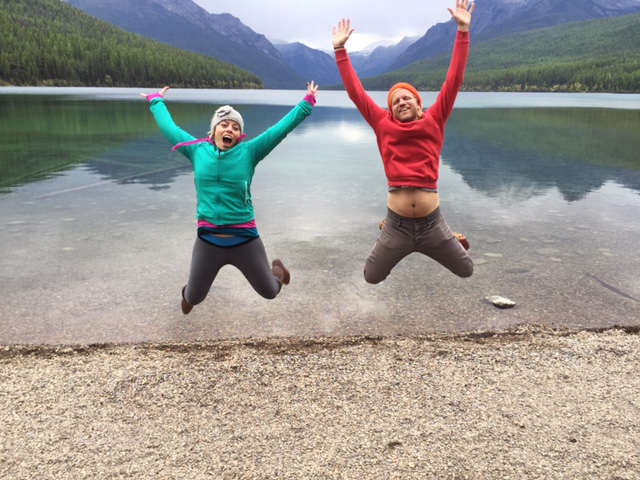My friend Scott and I showing just how much we love Glacier National Park.