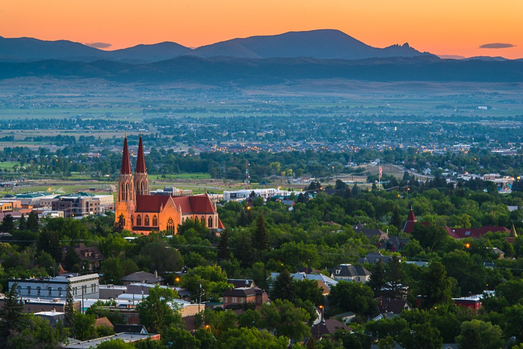 The Cathedral of St. Helena, with the Sleeping Giant in the background. Photo: Aaron Theisen