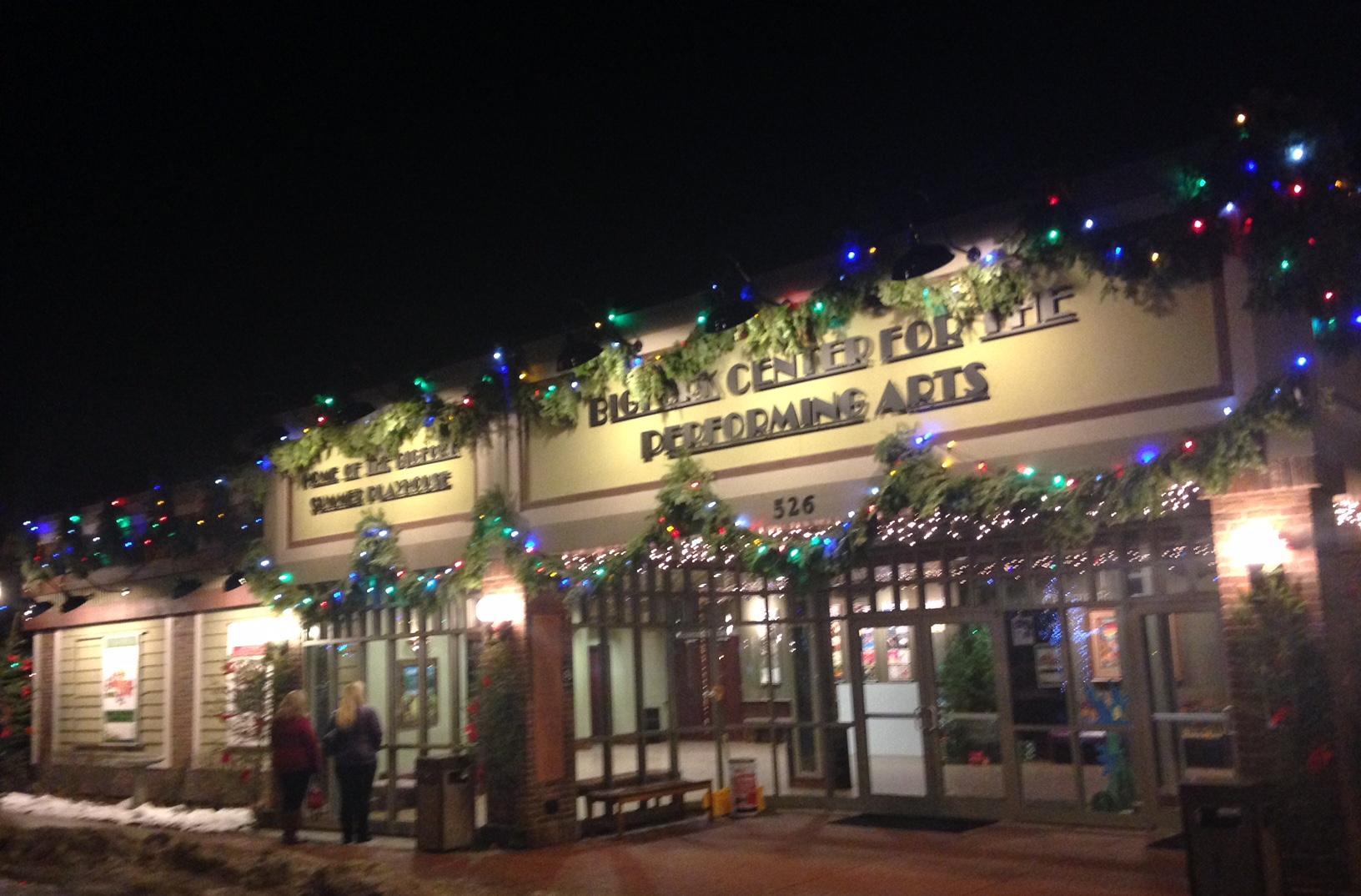 Twinkling lights in downtown Bigfork.