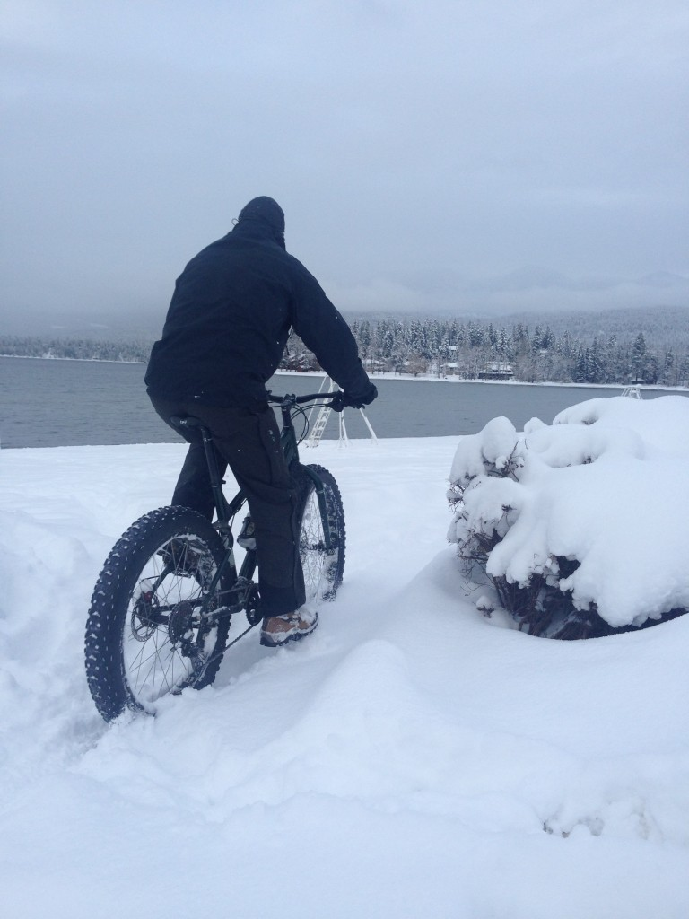 Fat biking along Whitefish Lake. Photo courtesy Jessica Downing