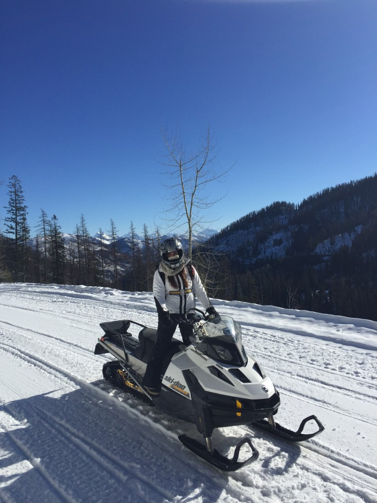 Snowmobiling north of Columbia Falls, Montana.