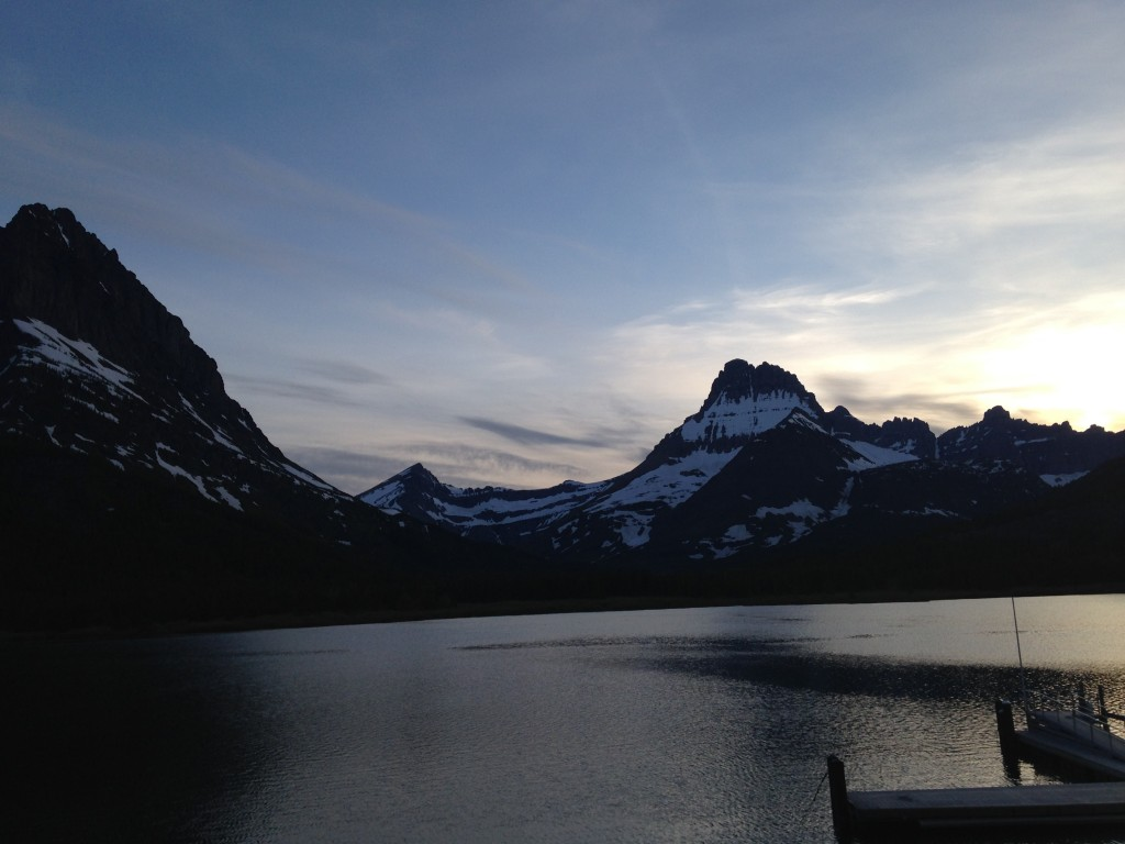 Night falls in Glacier National Park's Many Glacier.