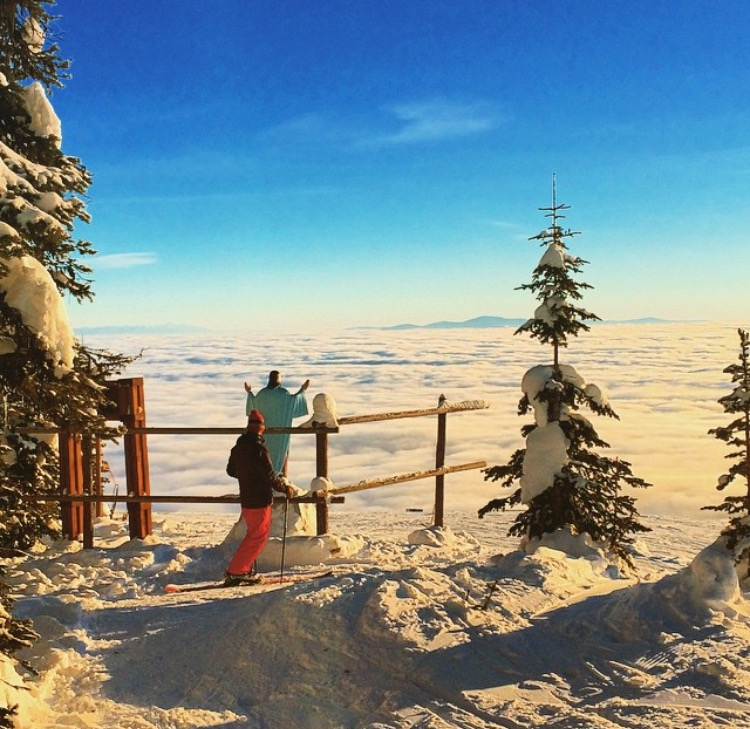 A skier takes in the view on an inversion day at Whitefish Mountain Resort. Photo: J. Langley