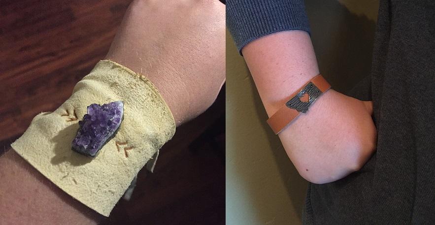 On the left: my bracelet from Miakoda. On the right: my friend's bracelet from Poisonberry.