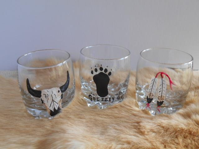 Western painted shot glasses.