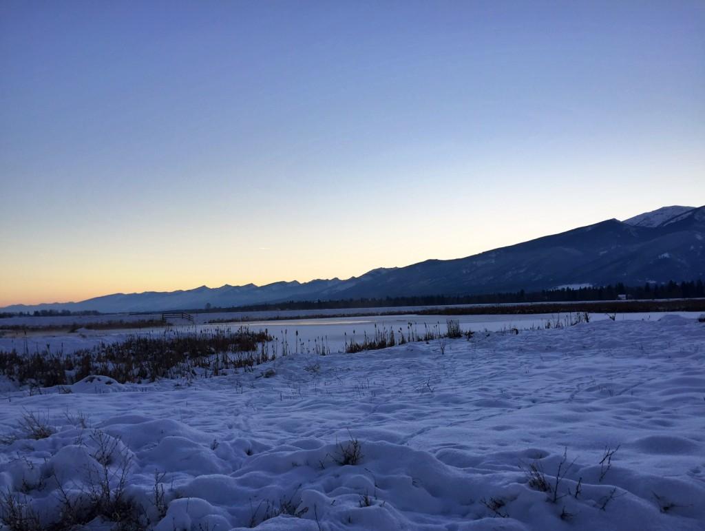 Twilight reflects on the Bitterroot Mountains.