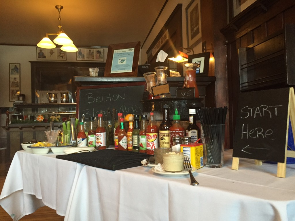 They also have a bloody mary bar on Sunday mornings.