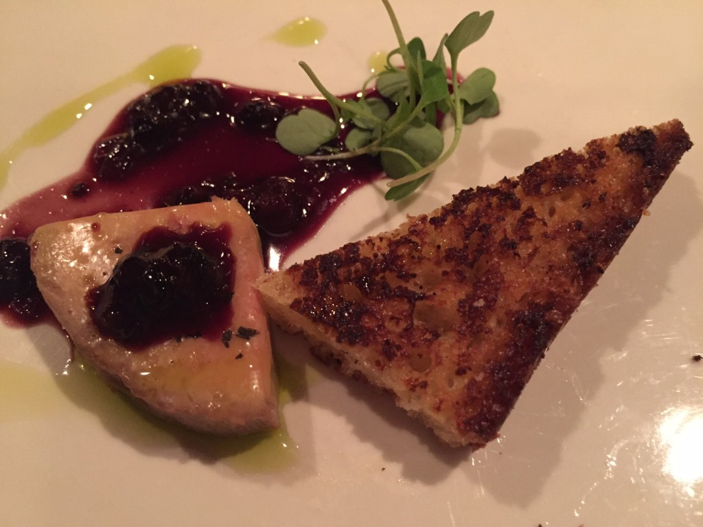 Foie gras torchon. (Put huckleberry on anything and I'll eat it. But for real, this foie gras was decadent).