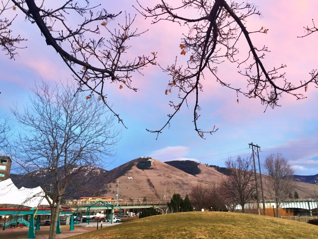 A cotton candy sky over Mount Sentinel.