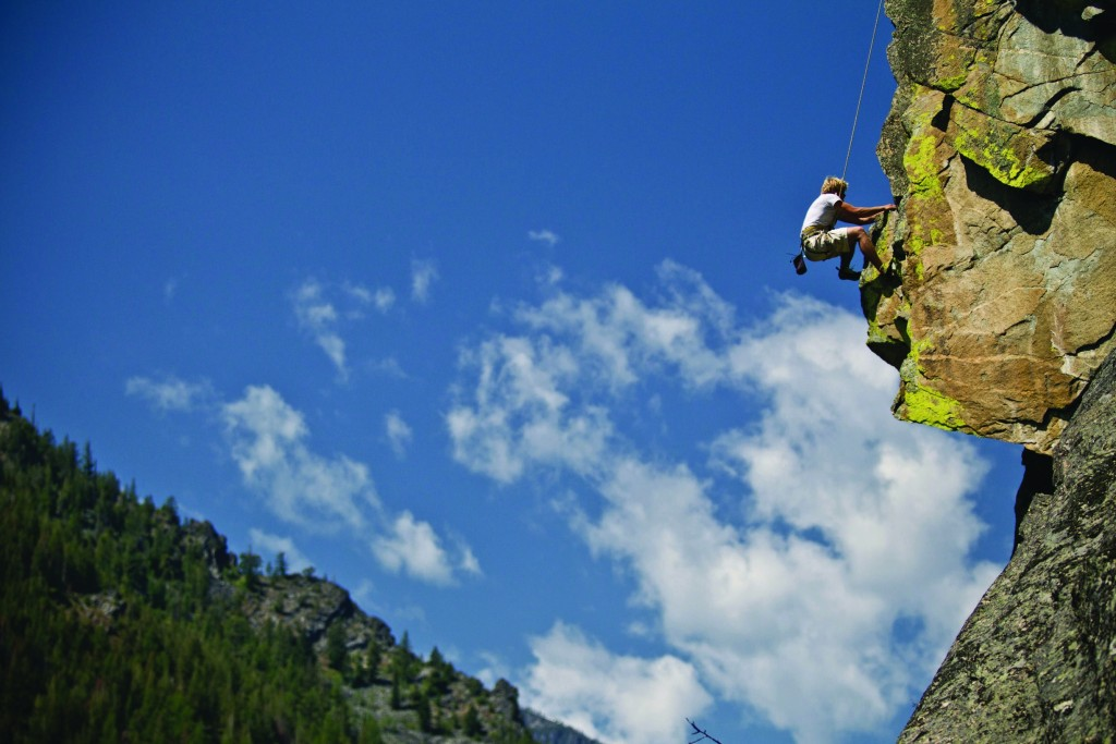 Rock climbing in the Bitterroot National Forest.