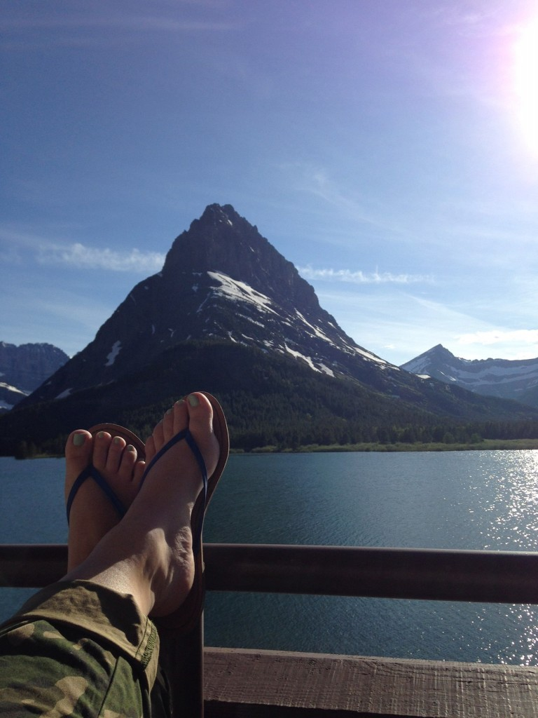 Taking in the view of Swiftcurrent Lake.