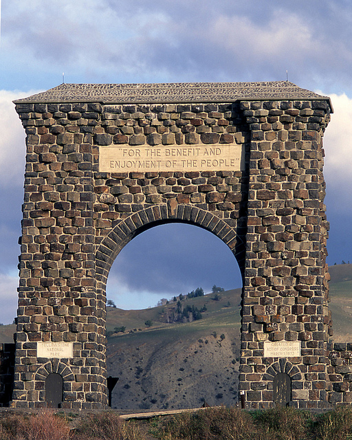The Roosevelt Arch welcomes visitors to Yellowstone National Park. Photo: YNP Flickr