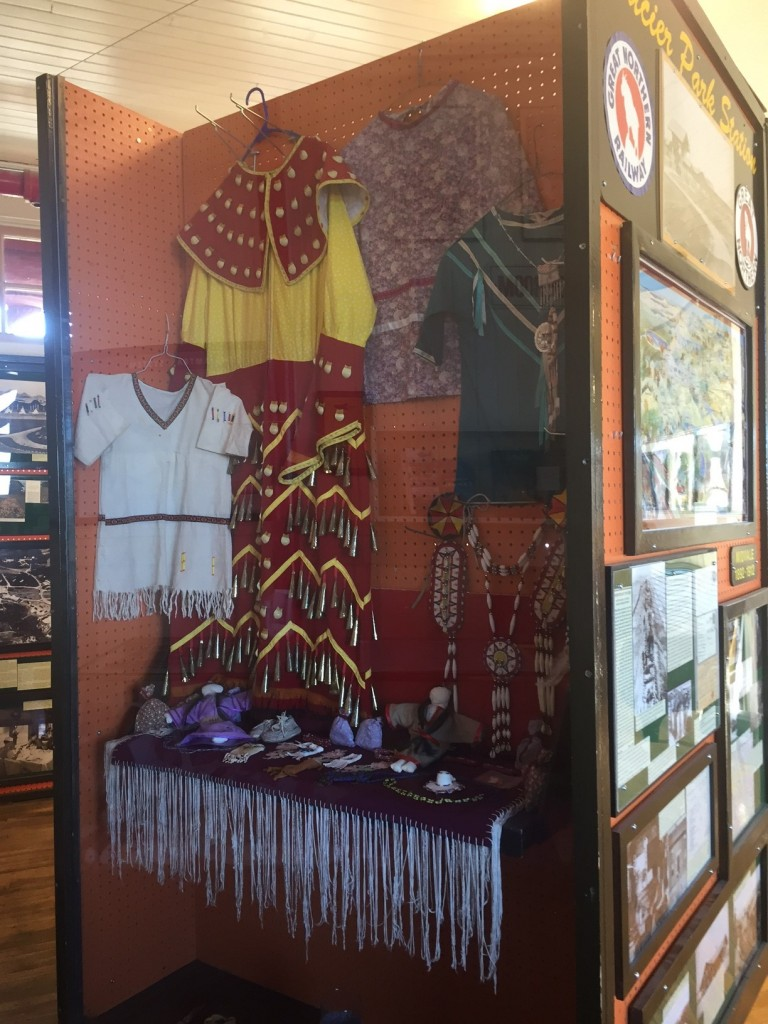 Displays from the Blackfeet Nation inside the train depot at East Glacier Park.