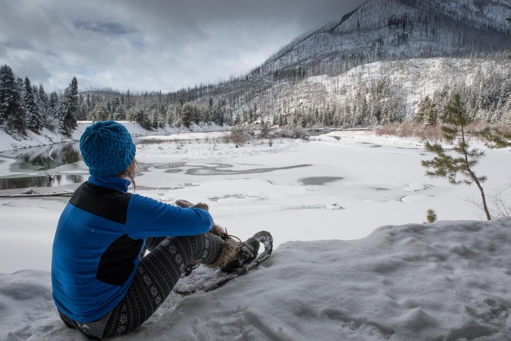 Taking in the stillness of winter in Glacier National Park.
