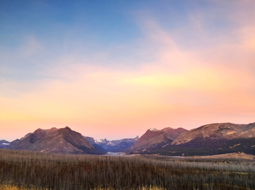 Sunrise over the St. Mary Valley in Glacier National Park.