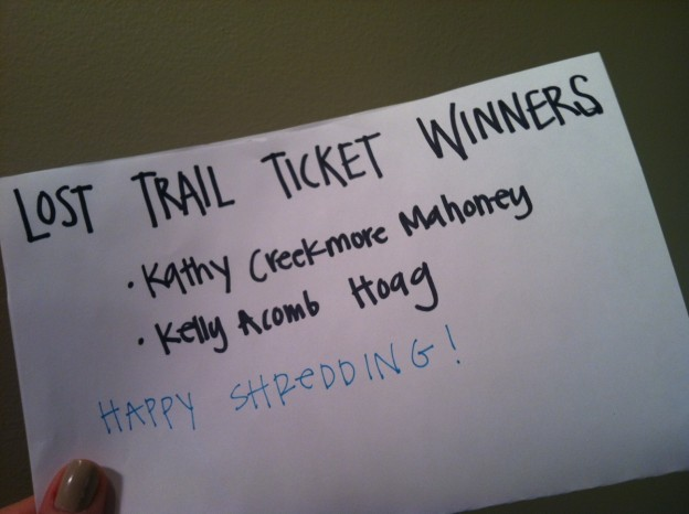Lost Trail Ticket Winners!