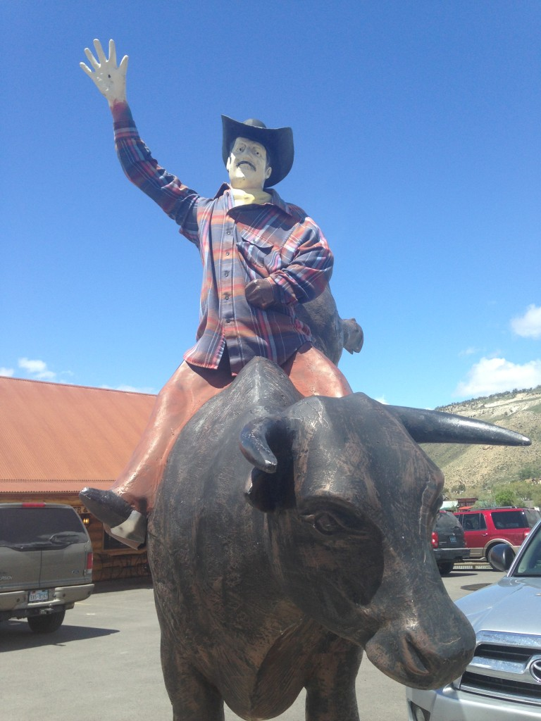 A cowboy giving us a proper send-off in Gardiner.