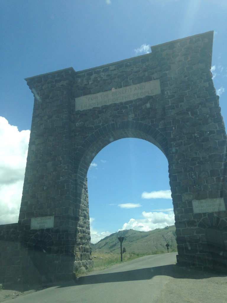 Entering Yellowstone--the nation's first national park.