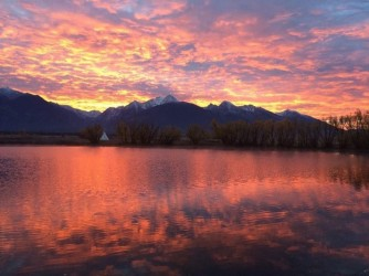 The Mission Mountains at sunrise. Photo: Ninepipes Lodge
