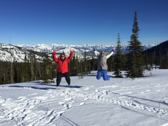 Jumping for joy after riding up to Kimerly Basin.