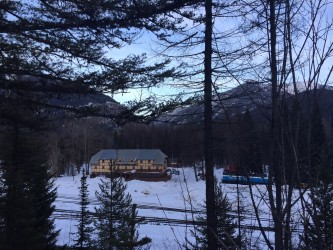 The view of the inn from across the tracks.