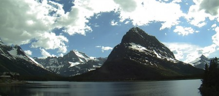 The view of Many Glacier from Glacier National Park's webcam.