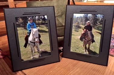 Upon our return to the cabin, we had these framed photos from our ride.
