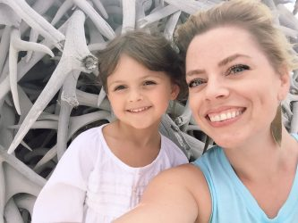 My mini BFF and I at the antler pile at the National Bison Range.