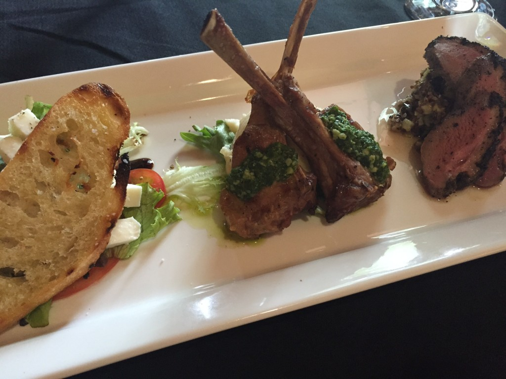 The lamb lollipops (shown here in the middle of the dish) are one of my favorite apps in Montana.
