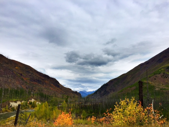 Our first view of the peaks of Glacier National Park from the North Fork Road.