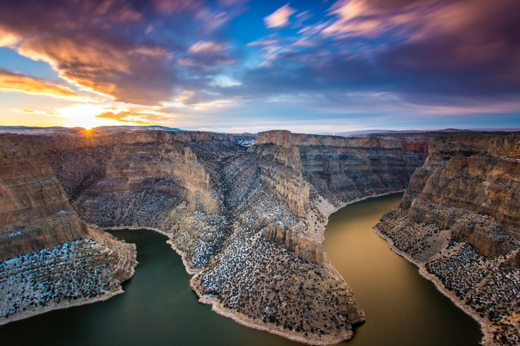 A cotton candy sky above the Bighorn Canyon. Photo: Andy Austin