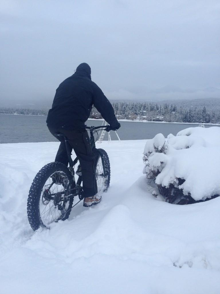 Fat biking along Whitefish Lake. Photo courtesy Jessica Downing