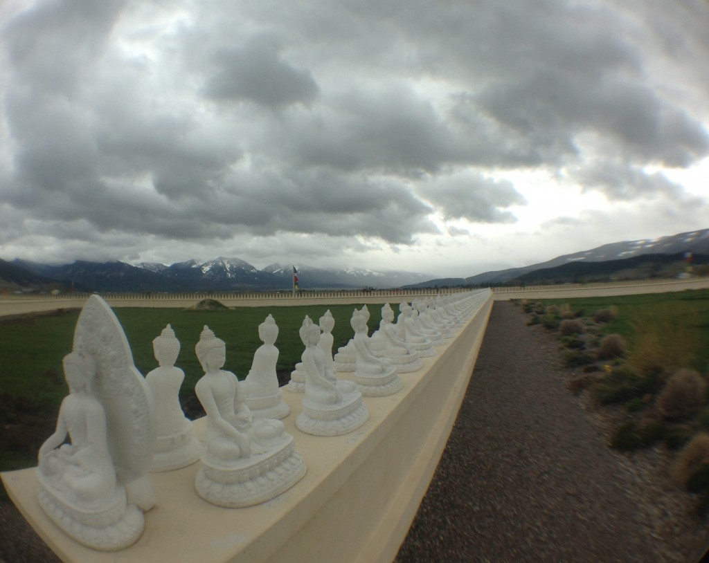 A juxtaposition of buddhas and the nearby Mission Mountains.