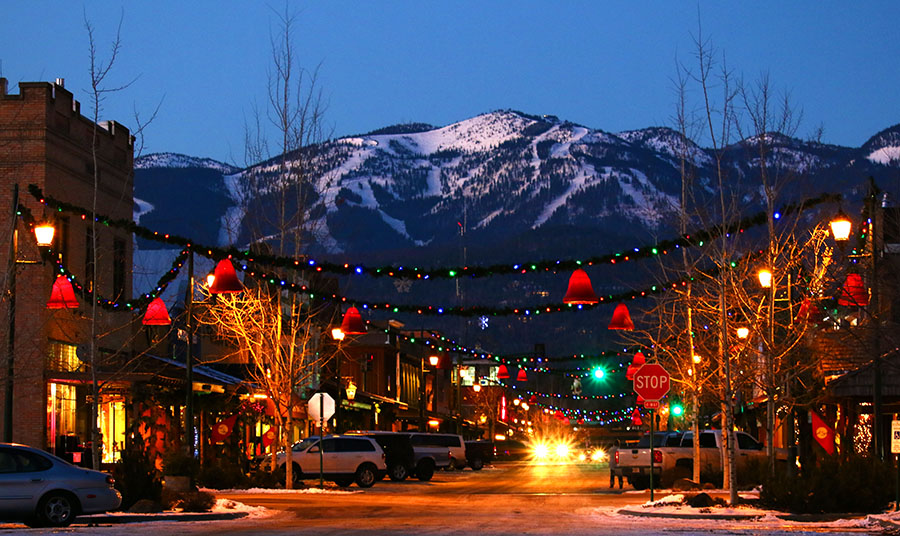 Whitefish, Montana decks its halls for the holidays.