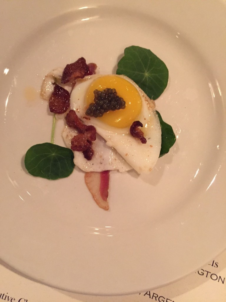 Quail egg. (I was skeptical, but loved it.)