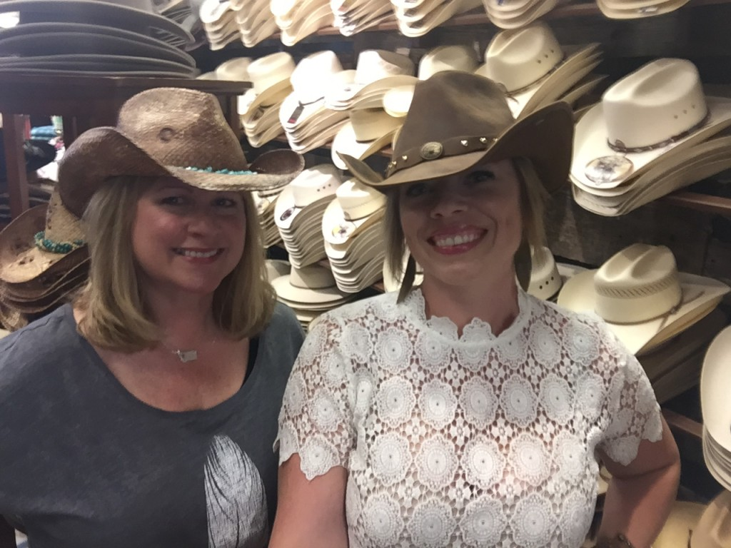 Just two cowgirls, wandering about town.