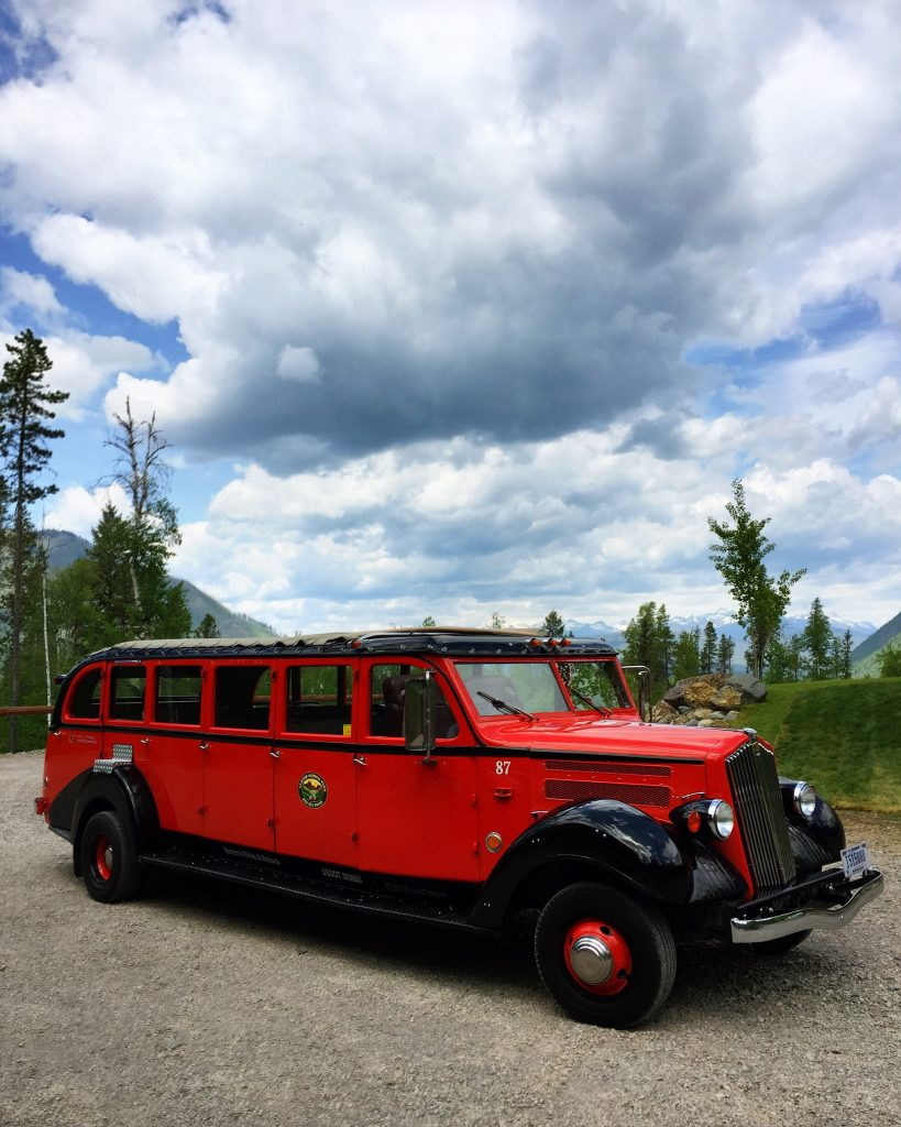 Our chariot AKA one of the historic red buses that provide tours in Glacier National Park.