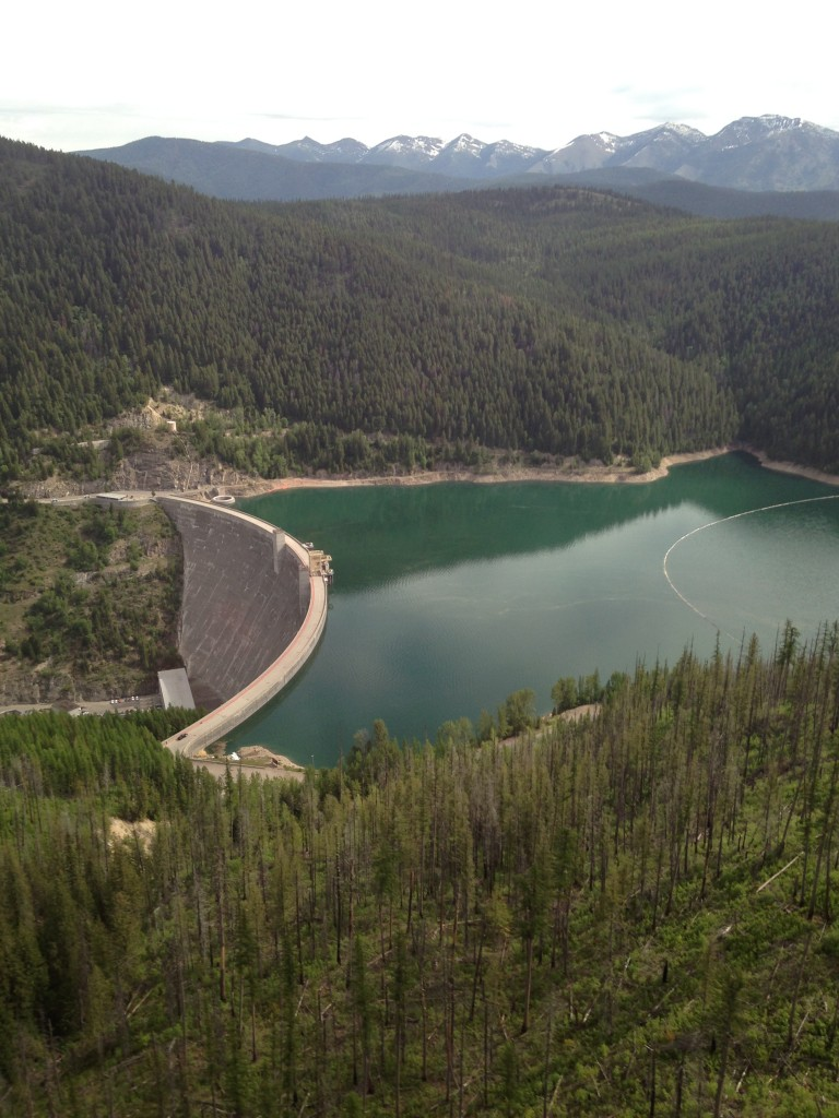 The view of Hungry Horse Reservoir from above.