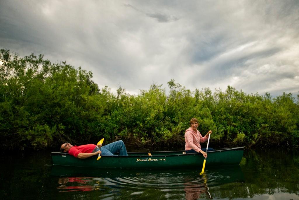 Paddling the canoe trail.