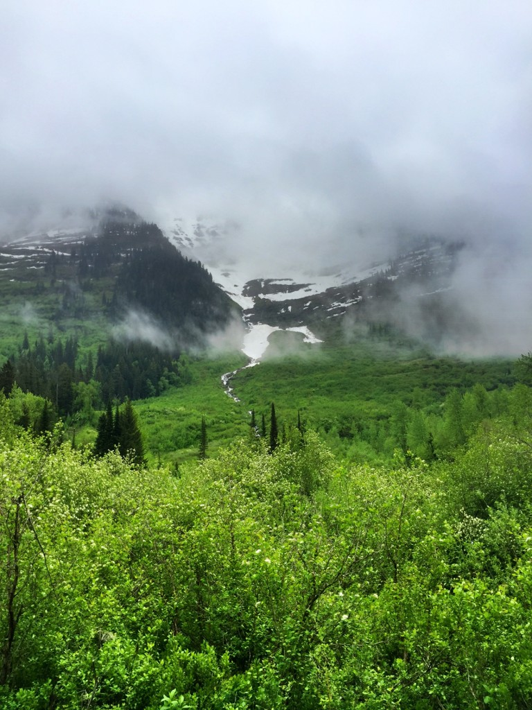 Snow and low clouds lingered in mid-May.